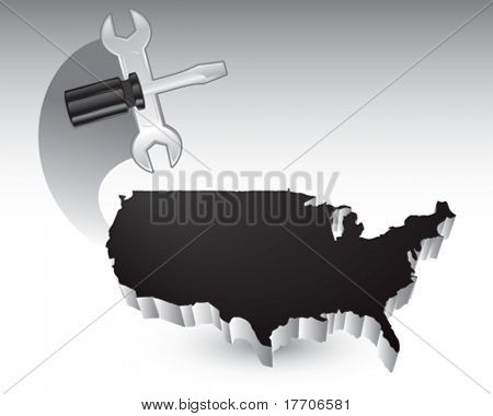 screwdriver and wrench over united states icon