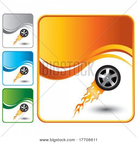 flaming racing tire on multicolored wave backgrounds