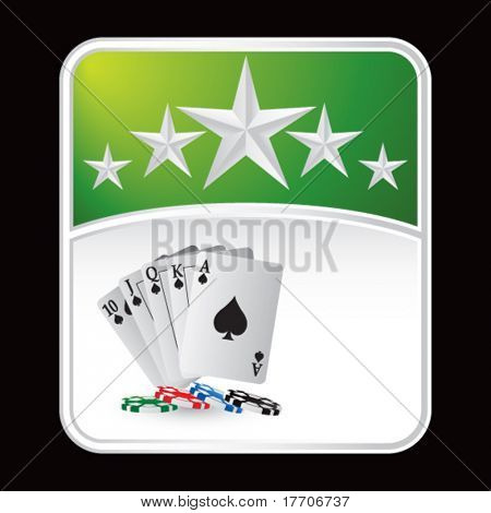 playing cards and chips on green star background