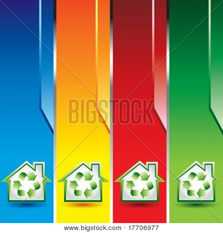green recycle house on vertical colored banners