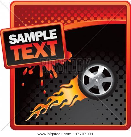 flaming racing tire on red and black halftone advertisement