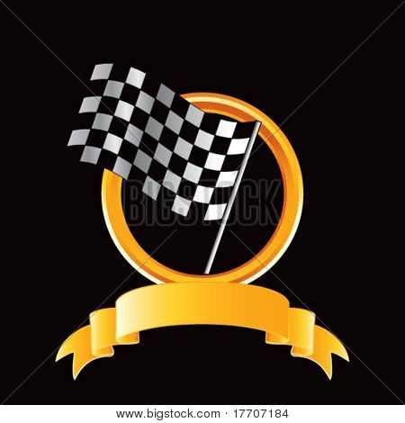 racing checkered flags on royal crest