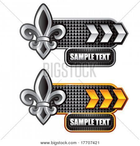 fleur de lis on arrow nameplate banners