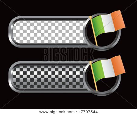 irish flag on silver and black checkered banners