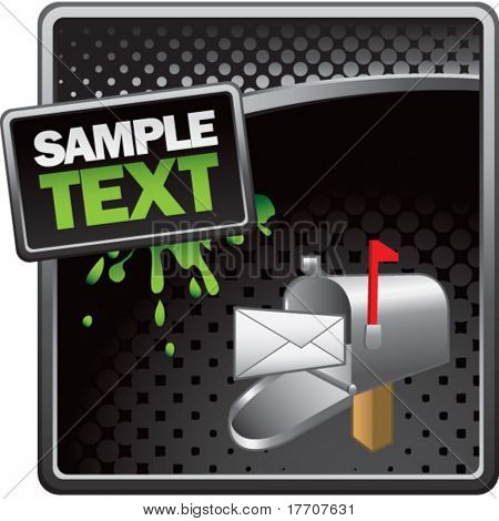 email mailbox on black halftone grungy template