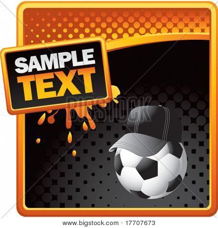 soccer referee ball on orange and black halftone advertisement
