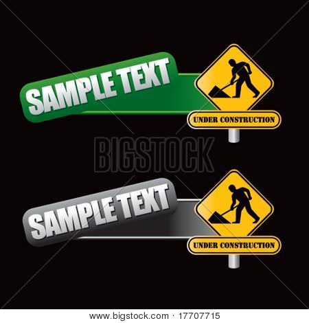 construction sign on tilted green and gray templates
