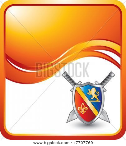 royal shield with crest and lion on orange wave background
