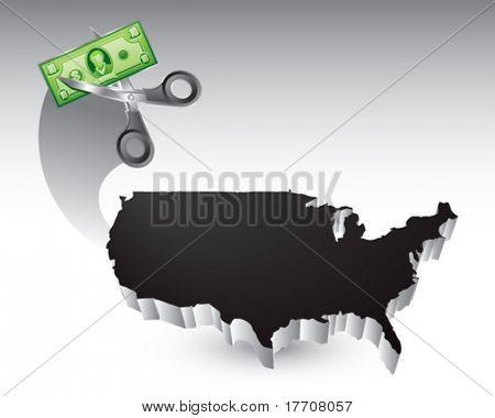 corte de preço sobre o ícone de Estados Unidos