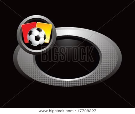 soccer ball with red and yellow cards on silver ring
