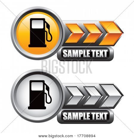 gas pump icon on gold and silver arrow banners