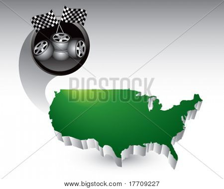 checkered flags and tires over united states icon