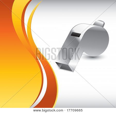 whistle on orange wave background