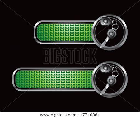 car keys green checkered tabs
