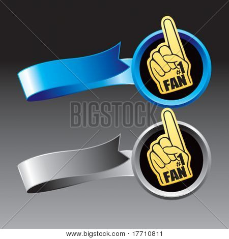 fan hand blue and gray ribbons