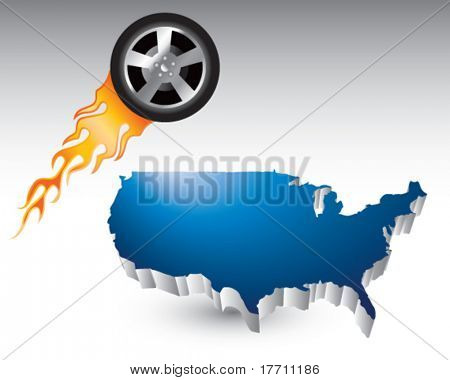flaming racing tire over united states icon