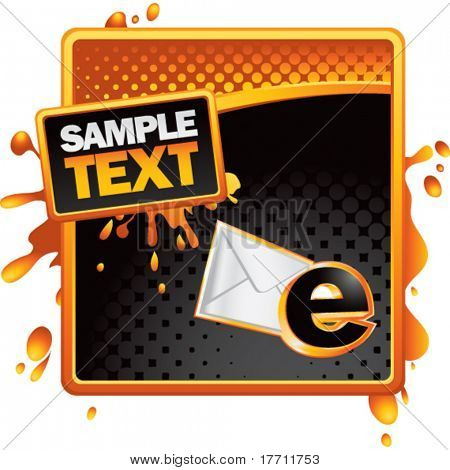 email letter orange and black halftone grungy ad