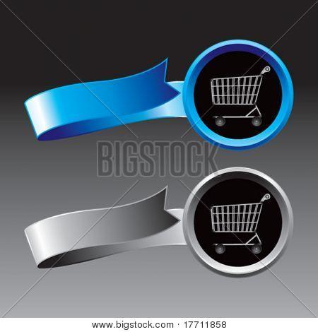 Einkaufen Warenkorb blauen und grauen Bänder