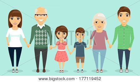 Strong family. All family members are holding hands with each other. Mom and dad, children and grandparents. Happy family.