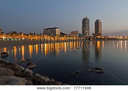 Night Panorama Of The City Of Barcelona Spain