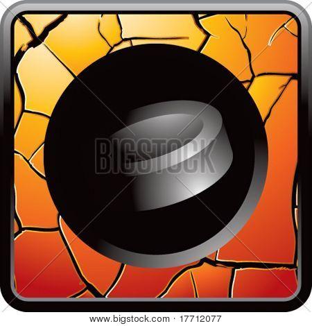 hockey puck orange cracked web button