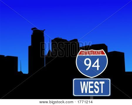 Minneapolis With Interstate 94 Sign