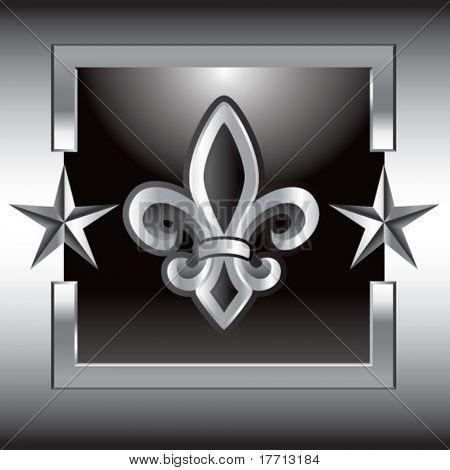 fleur de lis in silver star frame