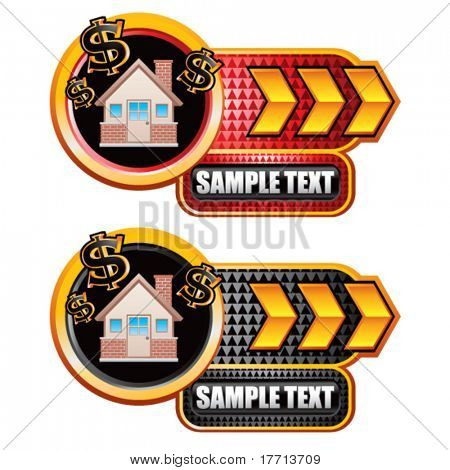 money house gold arrow checkered nameplates