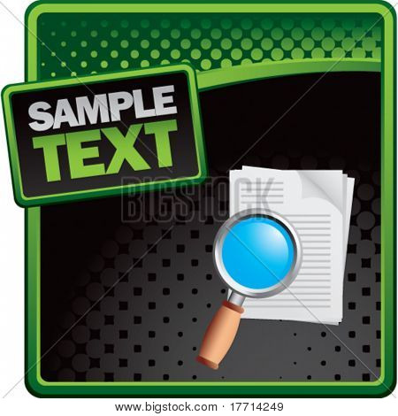 magnify documents green and black halftone template