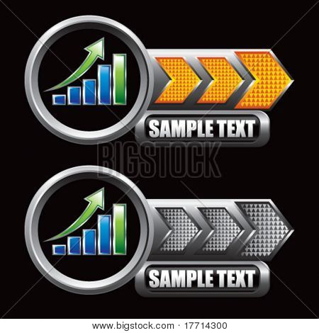 bar graph orange and gray arrow nameplate banners