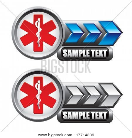 caduceus symbol blue and white arrow nameplate banners