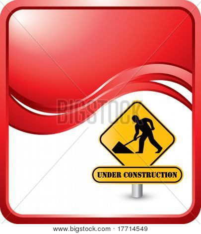 construction sign red wave background