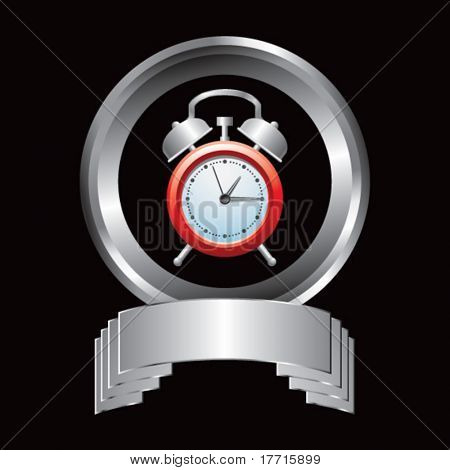 alarm clock silver round display