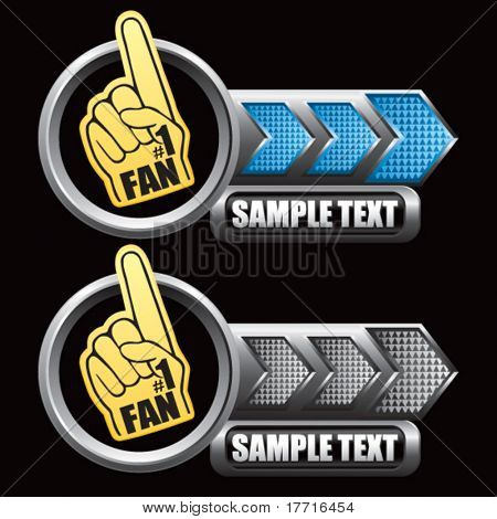 fan hand blue and gray arrow nameplate banners