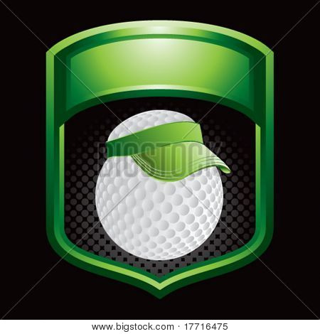 golf ball with visor on green shiny display
