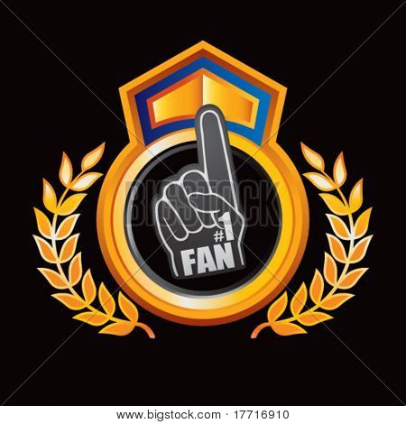foam fan hand orange and blue royal display