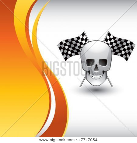 skull and racing flags vertical orange wave backdrop