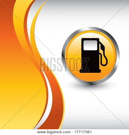 gas pump icon vertical orange wave backdrop