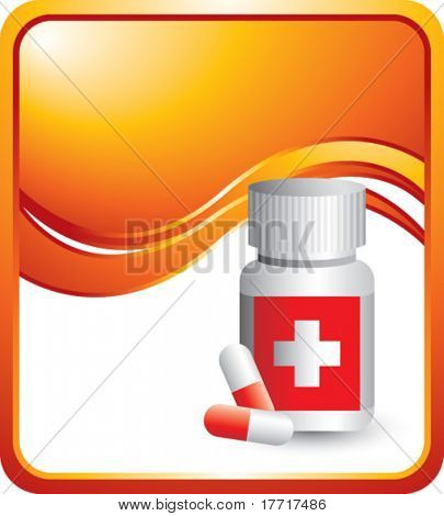 medicine bottle vertical orange wave backdrop