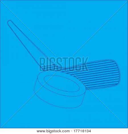 hockey stick and puck blueprint
