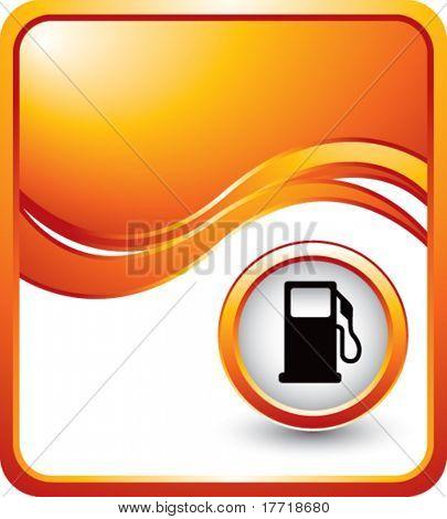 gas pump icon orange wave background