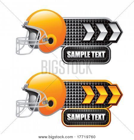 football helmet white and gold arrow nameplates