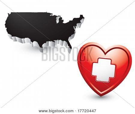 medical heart and cross under black united states icon