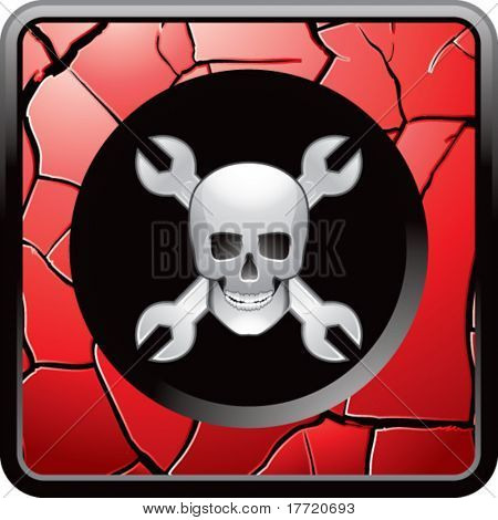 skull and wrenches red cracked web button