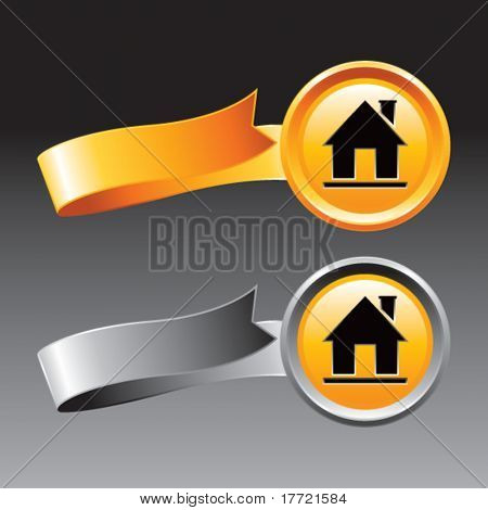 home icon orange and gray ribbons