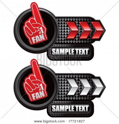 fan hand red and white arrow nameplates
