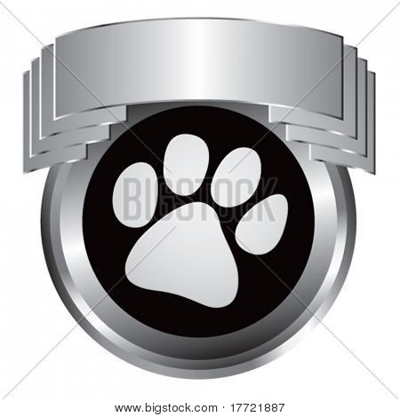 paw print silver shiny display