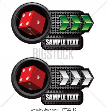 casino dice green and white arrow nameplates