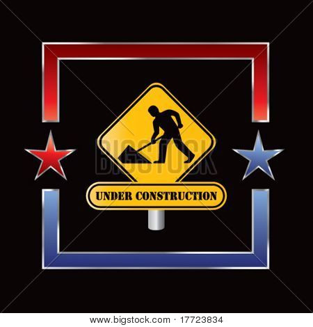 construction sign red and blue star frame