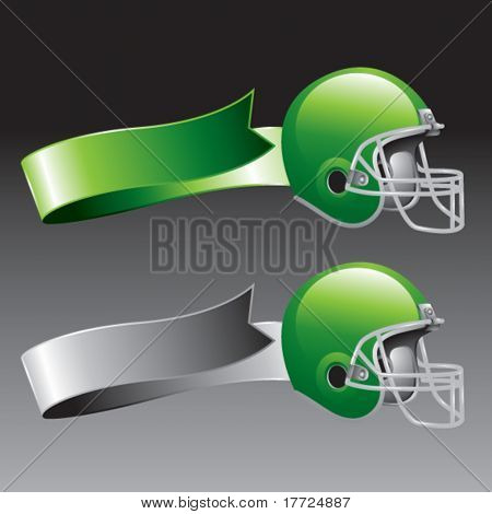 football helmet green and gray ribbons